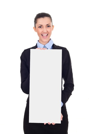 businesswoman holding sold sign, estate agents advertisement,  smiling female in suit,  isolated on white background photo