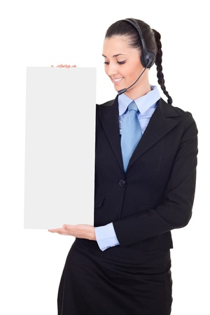 blank banner,  business woman with headset on white background photo