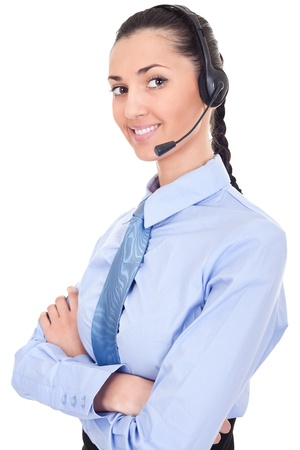 confident support phone operator in headset, isolated on white photo