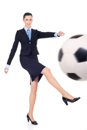suit skirt: business woman giving goal, business success concept, isolate on white background