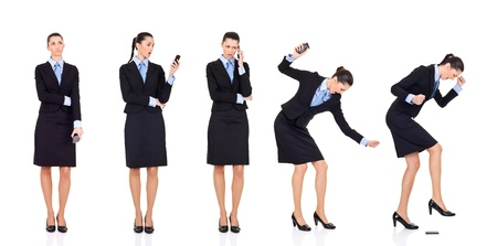 destroying: storyline,  bad news businesswoman received bad news over the phone,  storyline, isolated on white  Stock Photo