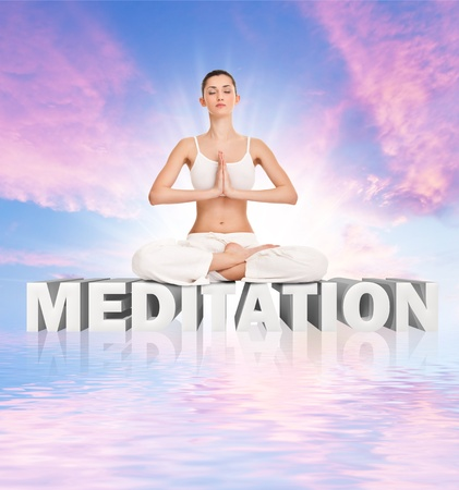 young  woman meditating  on word meditation over abstract sky Stock Photo - 10278937