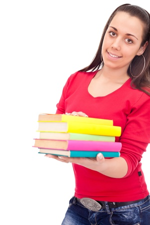 smiling student girl holding color books, isolated on white background Stock Photo - 10275071