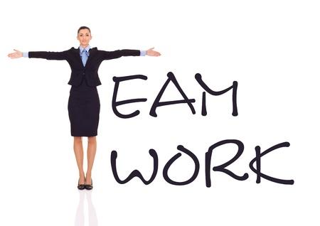 lideres: Empresaria en forma de T, equipo concepto de trabajo, aislado en blanco