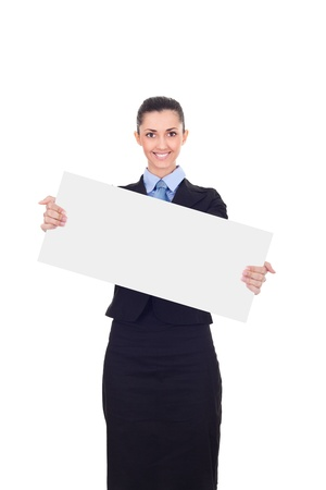 Businesswoman holding a white empty banner or poster , isolated on white background  photo