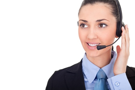 business woman with headset, call-center representative, isolated over a white background  photo