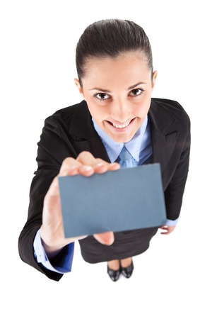 businesswoman shoving a blank business card over white photo