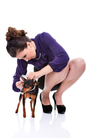 attractive young woman preparing  her dog for walking, isolated on white background photo