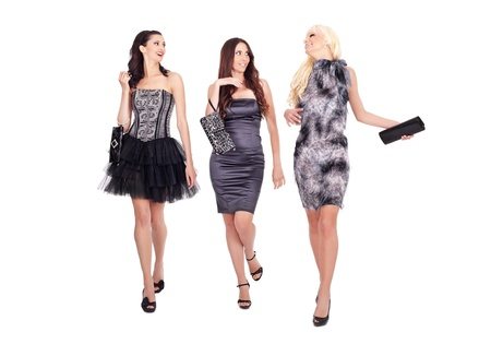 group of fashion women walking and talking on white background Stock Photo - 10274941