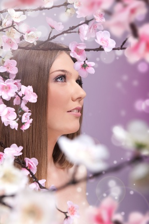 woman enjoying in spring, concept harmony with nature Stock Photo - 10275243