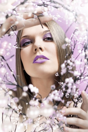 maquillaje fantasia: hermosa mujer perfecta