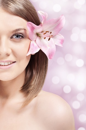 body spa: spa woman with healthy  skin, half face