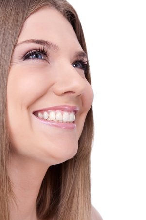 dentition: young woman with beautiful healthy teeth smiling