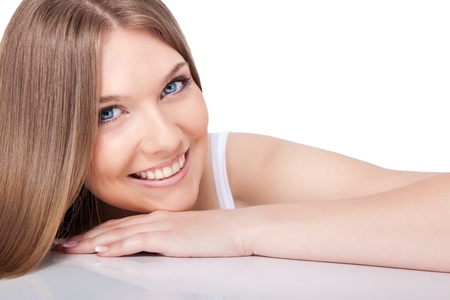 cleanse: portrait of beautiful young smiling woman , close-up