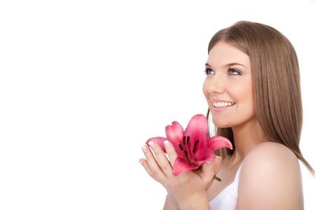 mooie jonge spa vrouw portret, geïsoleerd op witte achtergrond Stockfoto