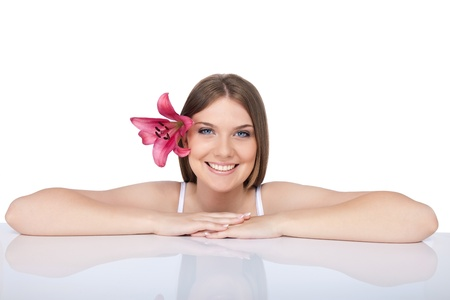beautiful spa woman,  clear  fresh skin, isolated on white background photo