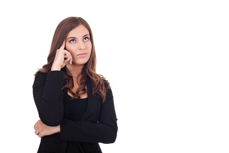preguntando: joven empresaria pensando sobre fondo blanco