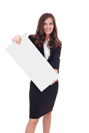 Cheerful businesswoman holding a white empty banner or poster , isolated on white background photo