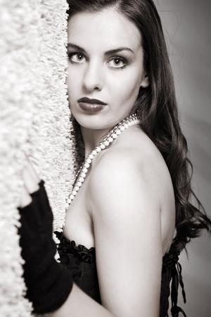 fine art photo of a sexy lady,  dressed stylish photo