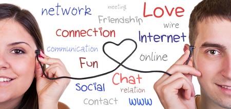 usb kabel: verbunden Seelenverwandte, USB-Kabel und Menschen K�pfe, Kommunikation, isoliert auf wei� Lizenzfreie Bilder