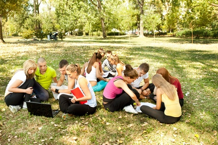 three teams of young students outdoor photo