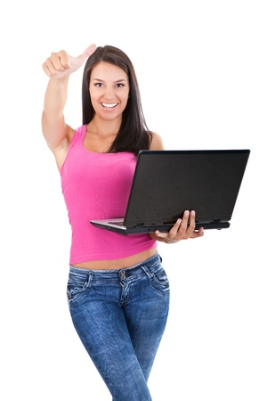 girl with laptop showing thumb up  photo