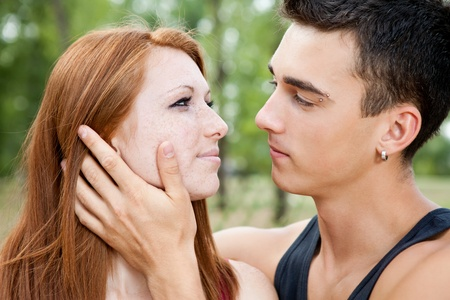close up of young romantic couple, outdoor Stock Photo - 10693588