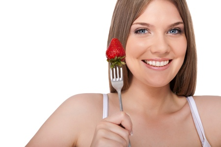 smiling woman with  strawberry, isolated on white background Stock Photo - 10686251