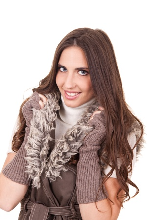 fashion woman posing with fur, isolated on white background photo