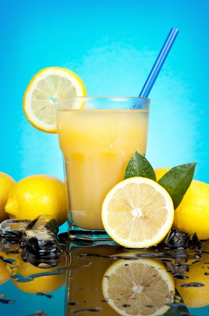 fresh and cold lemon cocktail, summer drink photo