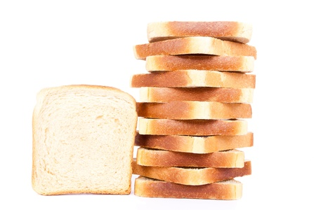loaves: sliced butter toast, isolated on white background