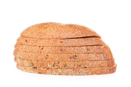 whole grain brown bread,  slices of half loaf, isolated on white photo