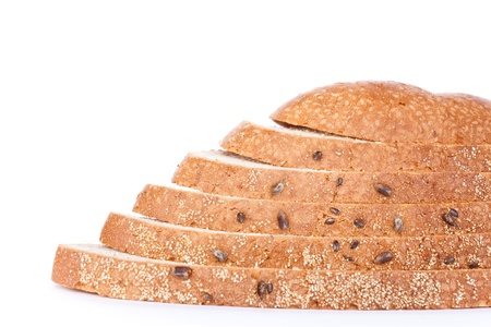 Bread covered with flax, sesame and other cereals, isolated photo