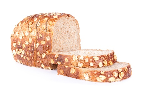 integral:  fresh bread with sesame and oats flakes,  isolated on a white background
