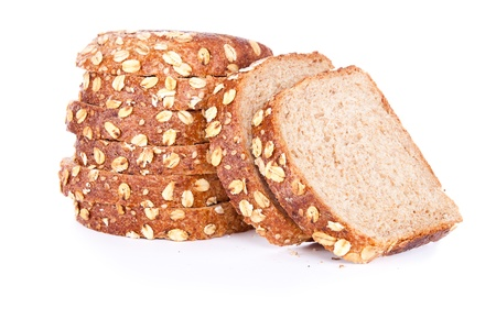 fresh slice of bread:   cut loaf of bread with reflection isolated on white