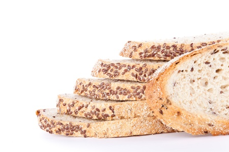 sliced bread with flax seeds, isolated on white background photo