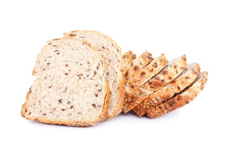 integral:  White baked bread soft fresh with a crisp poured by a sesame and oats flakes isolated on a white background Stock Photo