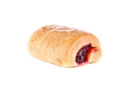fresh croissant with fruit jam,  isolated on white background photo