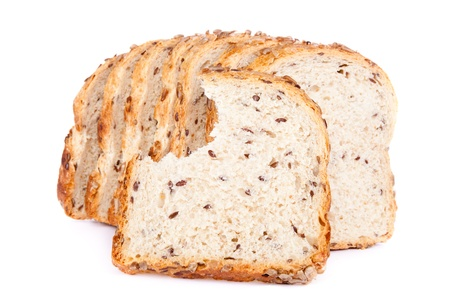 missing bite:  missing bite on slice of multigrain bread, isolated on white background