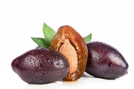 freshness plums, isolated on white background photo
