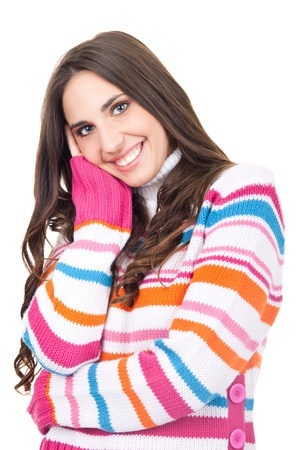 turtleneck: smiling girl in woolly turtleneck, isolated on white background
