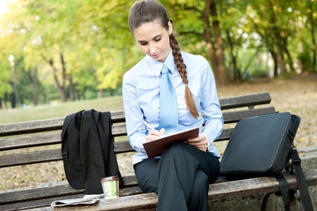 beautiful, young business woman writes notes Stock Photo - 11032470