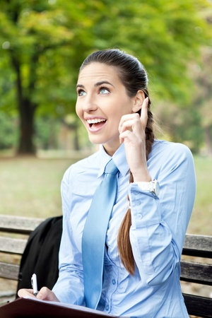 businesswoman having idea, just  remember, outdoor Stock Photo - 11032573