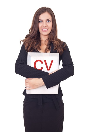 cv: young woman holding her cv, looking for a new job