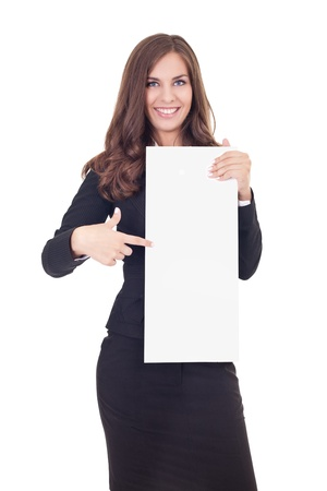smiling businesswoman holding and pointing on  blank  banner photo