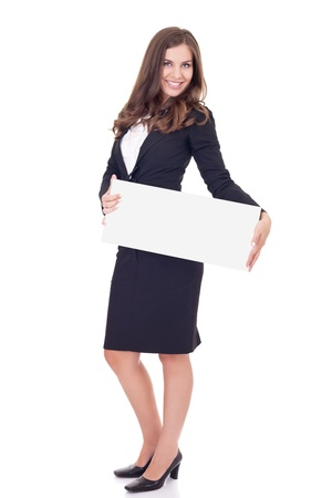ad sign: friendly smiling businesswoman holding blank  billboard sign with copy space, isolated on white background  Stock Photo