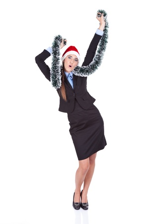 celebration Christmas,  happy businesswoman dancing,  isolated on white background photo