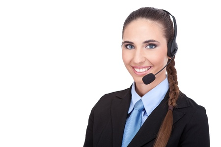 business woman with headset, support phone operator, isolated over a white background photo