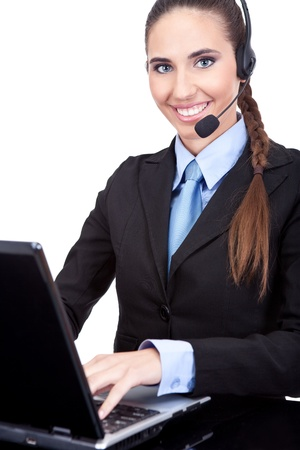 businesswoman working in call center as phone operator, isolated white background photo