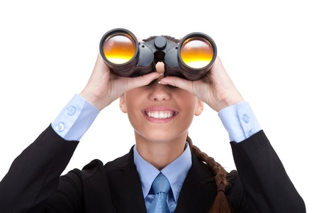 woman searching:  businesswoman with binoculars looking into the future , isolated on white background